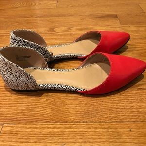 Express D'Orsay Red & White Flats